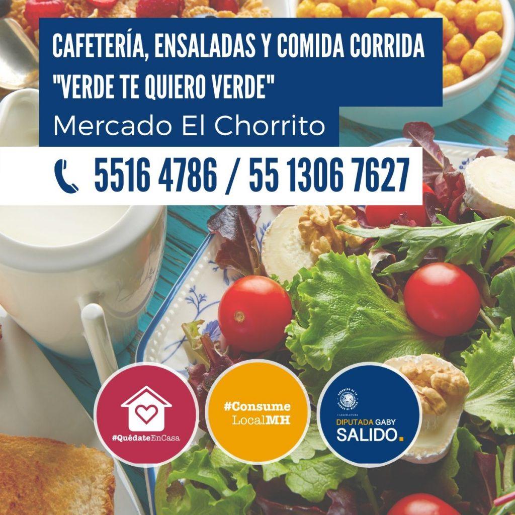 """Cafetería, ensaladas y comida corrida """"Verde te quiero verde"""""""
